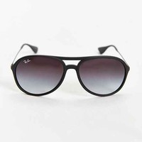 Ray-Ban Matte Rubber Aviator Sunglasses- Black One