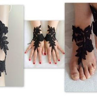 3 sets of garter, barefoot sandals, fingerless gloves,black, garter, toss garters, wedding garters, bridal accessores,  free shipping!