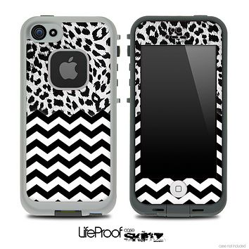 Mixed Leopard Print and Chevron Pattern Skin for the iPhone 5 or 4/4s LifeProof Case