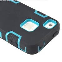 MagicSky Robot Series Hybrid Case for Apple iPhone 4 4S 4G - 1 Pack - Retail Packaging - Blue/Black