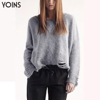 YOINS 2016 New Spring Fashion Women Hollow Oversized Pullover Jumper Sweater Casual Long Sleeve O-neck Knitted Sweater with Rips
