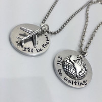 "Long Distance Relationship LDR Necklace Set  ""I'll be there."" ""I'll be waiting."""