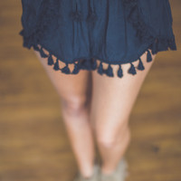 Tasseled Tulip Shorts in Black