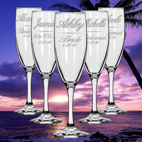 TWO Personalized Wedding Champagne Flutes Custom Etched Glass Champagne Flutes