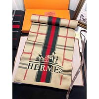 Hermes New fashion letter stripe horse print couple scarf No Box