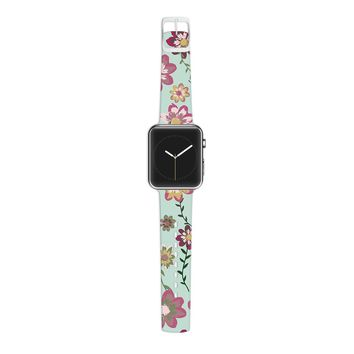 KESS InHouse Nika Martinez 38mm Strap for Apple Watch Band - Non-Retail Packaging - Romantic Floral in Mint/Pink Teal