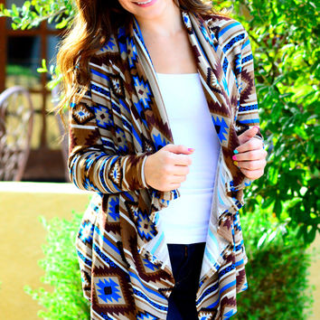 SEDONA LONG CARDI IN BLUE MULTI