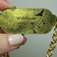 Mantra bracelet With brave wings she flies bracelet painted gold leather