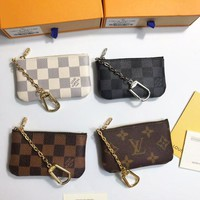 Louis Vuitton selling women's casual key bags, fashionable printed small zipper purses