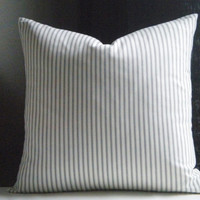 Ticking stripe pillow cover grey and white 20 X 20