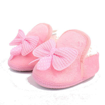 Warm Baby Girl or Boy Booties in Pink , Red or Brown