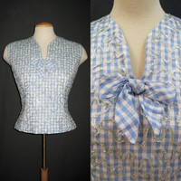 50s Blouse Vintage Sequin Gingham Rockabilly Shell Top M L