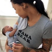 'MAMA BEAR' Fitted Grey Tee