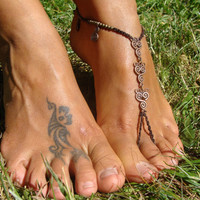 PAIR of Barefoot Sandals Anklet toe ring bronze charms Spiral Calabash Charms hippie boho gypsy jewelr