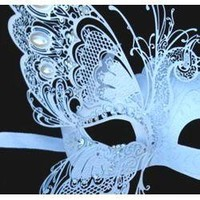White Venetian Hand Painted Masquerade Mask with White Iridescent Metal Laser Cut and Crystals