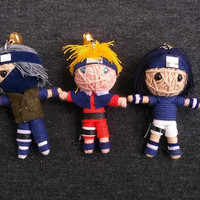3 String dolls Kakashi Naruto Sasuke Shippuden Manga Japanese Funny Keyring Keychain Key Ring Chain Bag Car Charm Bike Deco Hip Funky Japan