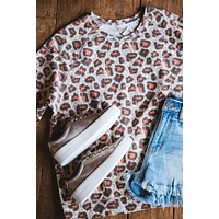 Just A Traveler Thick Knit Leopard Tee, Faded Coral