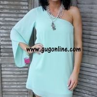 One Sided Story Mint One Shoulder Dress