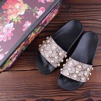 HCXX Gucci 18ss Pearl buckle printed slippers
