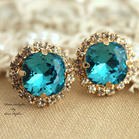 Teal Blue Cobalt Studs Swarovski Rhinestone vintage style earring - 14k 1 micron Thick plated gold post earrings.