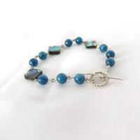 Abalone and blue apatite tennis bracelet, peacock blue apatite gemstone stacking bracelet, Gift under 50