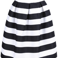 Black Striped Midi Skater Skirt