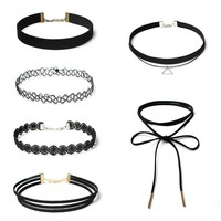 6Pcs Accessory Black Chain Lace Set [9659243466]