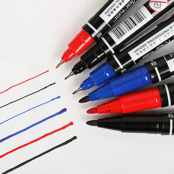 1 pcs Marker Pen Student Learning Stationery Double Marqueurs BlackBoard Paint Pens 3 Color Select Writing Supplies