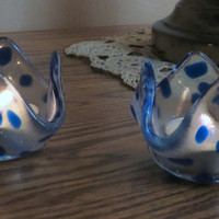 Fused Glass Candle Holders Clear Glass with Spots of Blue, Statteam