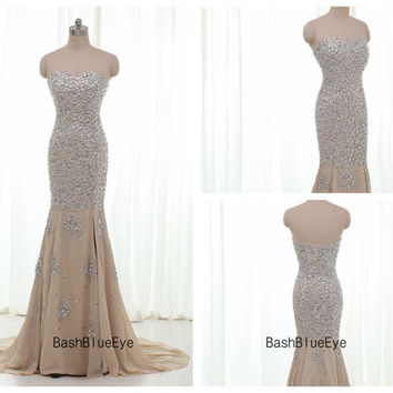 Long Strapless Chiffon Crystal Champagne Mermaid Prom Dress/ Party Dress/ Homecoming Dress/ Formal Evening Dress