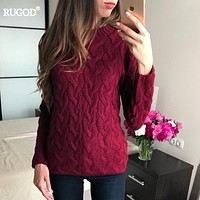 RUGOD  Muti Color Christmas Sweater Women Autumn Winter Long Sleeve O-neck Sweater Pullover Female Casual Knitwear Jumper