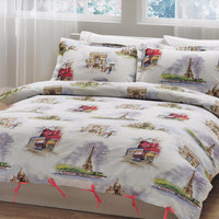 Paris Bedding Set in Red, Green on White Backround for Queen, Double or Full  – 6-piece Set of Duvet Cover, Flat Sheet, Shams & Pillow Cases