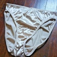 VTG SECOND SKIN SATIN GOLD PANTIES  Hi Cut Legs M Tags missing