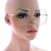 Oversized Octagon CLASSIC VINTAGE RETRO Style Clear Lens EYE GLASSES Gold Frame