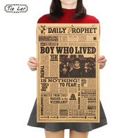 TIE LER Classic Movie Kraft Paper Poster Harry Potter Daily Prophet Wall Sticker Bar Cafe Decorative Painting 42X27cm