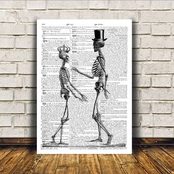 Macabre art Skeleton poster Modern decor Dictionary print RTA9