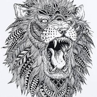 Lion Dreamcatcher Temporary Tattoo  Black Large for Men and Women