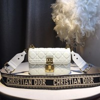 HCXX July 310 Christian Dior Hardware Roman retro shoulder strap single shoulder oblique handbag white 24-16-7