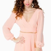 L/S Surplice Romper W/Chain Belt