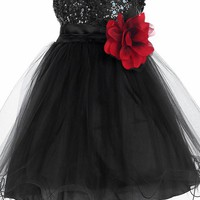 Baby Girls Black Sequin Party Dress w. Lettuce Tulle Hem 3-24m