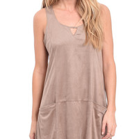 Easily Persuaded Faux Suede Shift Dress