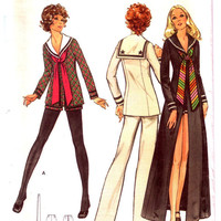 """Sailor collar top. Uncut vintage sewing pattern. Misses Tunic, Pants & Shorts. Nautical style. 70's top pattern. Butterick 6489. Bust 36"""""""