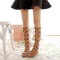 Hollow Out Cross Straps Flat Gladiator Sandals Summer Boots 3591