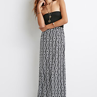 Abstract Print Strapless Dress