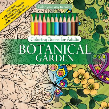 Color To Calm Adult Coloring Book with Pencils - Botanical Garden