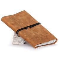 Recycled leather journal notebook diary medium book cahier chapbook blank pages eco paper christmas - rustic honey carmel brown