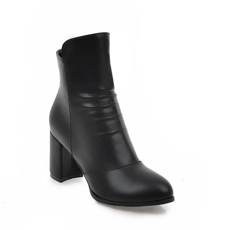 Image of Pu Leather Thick Heeled Ankle Boots for Women 9348