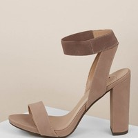 Open Toe Elastic Ankle Strap Chunk Heel Sandals