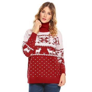 High Neck Long Sleeve Knitted Christmas Sweater