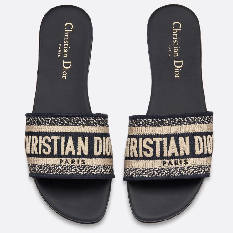 Image of Dior DWAY MULE IN EMBROIDERED COTTON